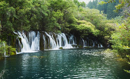 A waterfall in the Jiuzhaigou Royalty Free Stock Photo