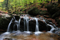Waterfall in the Jizera Mountains Royalty Free Stock Photo