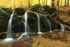 Waterfall in Jizerske Mountains Royalty Free Stock Images