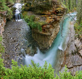 Waterfall in Johnston canyon Stock Images