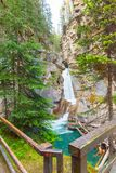 Waterfall in johnston canyon Stock Photo