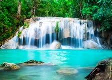 Waterfall in the Jungle at Kanchanaburi Stock Photos