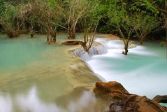 Waterfall in the jungle, kuangsi Stock Photo