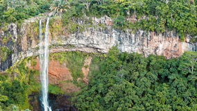 Waterfall in the jungles panorama view slow motion stock footage