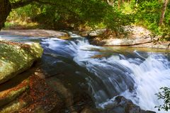Waterfall Khing and old leaf. At Phu  Suan Sai Naiton Prk , Loei province Thialand Stock Images