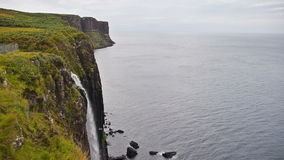 Waterfall at Kilt Rock in Quiraing, Scotland stock video