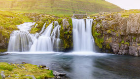 Waterfall at Kirkjufell mountain, Iceland Royalty Free Stock Images