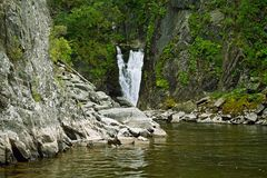 Waterfall Kishte at Teletskoye Lake. Gorny Altai Stock Images