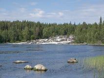 Waterfall Kivakkakoski in Paanajärvi National Park, Republic of Karelia Royalty Free Stock Images
