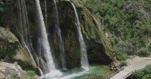Waterfall Krcic bridge in Knin stock video