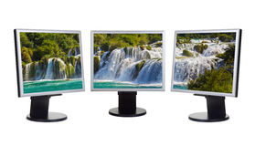 Waterfall KRKA (Croatia) in computer screens Royalty Free Stock Image