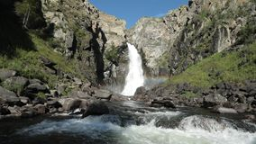 Waterfall Kurkure in Altai mountains, Altai Republic, Siberia, Russia stock footage