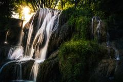 Sunlight falling on the waterfall. Waterfall in Lúčky, Slovakia, during summer day with sun rays falling down Royalty Free Stock Photography