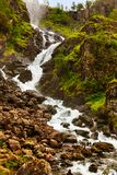 Waterfall Laatefossen in Hardanger Norway royalty free stock photography