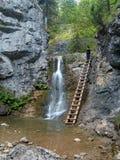 Waterfall and ladder in Kvacianska Valley Stock Photography