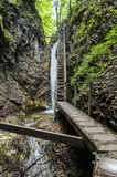 Waterfall and ladder in National Park Mala Fatra Royalty Free Stock Photography