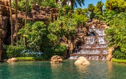 A waterfall and lagoon of the Mirage Hotel and Casino stock photography
