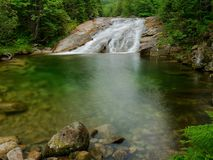 Waterfall with a lagoon on mountain stream Stock Photos