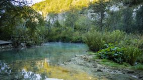 Little Creek within the colorful Plitvice National Park in Croatia stock photography