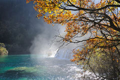 Waterfall  and lake in Jiuzhaigou Stock Photo