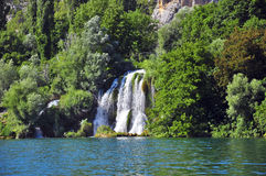 Waterfall in the lake. Krka, Croatia Royalty Free Stock Photography