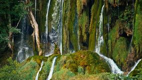 Waterfall and Lake in Plitvice, National Park. Croatia. 4k stock video footage