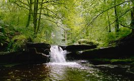 Waterfall in Lancashire.. Waterfall along the rocky river Roddlesworth in Lancashire UK stock photo