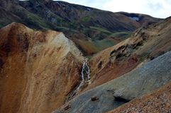 Waterfall in Landmannalaugar, Iceland. Stock Photo