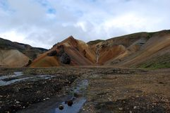 Waterfall in Landmannalaugar, Iceland. Royalty Free Stock Images
