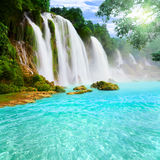 Waterfall landscape. Beautiful tropical landscape with waterfall royalty free stock photo