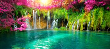 Free Waterfall Landscape Of Plitvice Lakes Croatia Stock Photos - 184026353