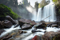 Waterfall landscape panorama. Outdoor hdri photography Stock Photos
