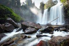 Waterfall landscape panorama. Outdoor hdri photography Stock Photos