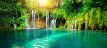 Waterfall landscape of Plitvice Lakes Croatia
