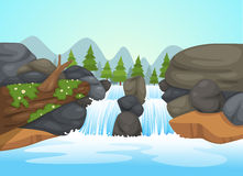 Waterfall landscape vector Royalty Free Stock Image