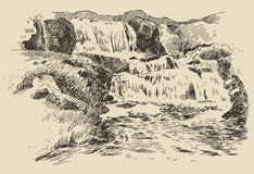 Waterfall landscape vintage engraving illustration Stock Photo