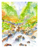 Waterfall landscape watercolor painted Stock Photo