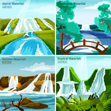 Waterfall Landscapes 2x2 Design Concept. With pictires of alpine north tropical and decorative waterfalls flat vector illustration Royalty Free Stock Photography