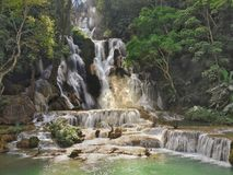 Waterfall in Laos stock photography