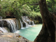 Waterfall in Laos. Turquoise water Royalty Free Stock Images