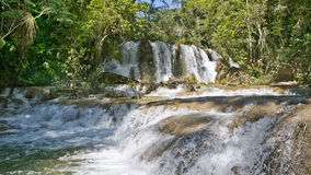 Waterfall las golondrinas. Waterfall in the jungle - in the area of lacanja, the land of the lacandone people, at the way to the ruinsite of bonampak, yucatan Stock Images