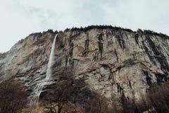 Waterfall in Lauterbrunnen, Switzerland. Winter landscape. stock photography
