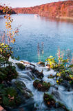 Waterfall leading to lake in Plitvice Lakes Royalty Free Stock Images