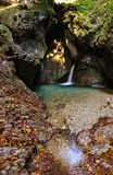 Waterfall in Ledro. Valley, Tiarno di Sotto, Trentino Italy. Gorg d`Abiss royalty free stock images