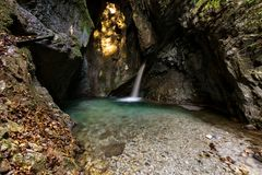Waterfall in Ledro. Valley, Tiarno di Sotto, Trentino Italy. Gorg d`Abiss royalty free stock photography