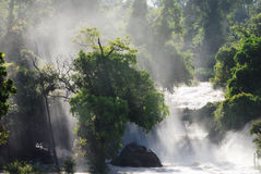 Waterfall with light beam Stock Images