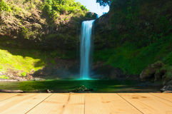 Waterfall with light yellow color wood terrace texture background Royalty Free Stock Images