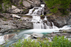 Waterfall Lillaz. In Gran Paradiso National Park, Italy Stock Image
