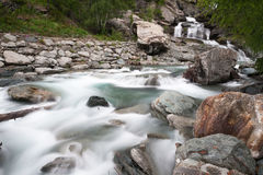 Waterfall Lillaz. In Gran Paradiso National Park, Italy Stock Photo
