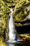 Waterfall with little rainbow, green moss stock image
